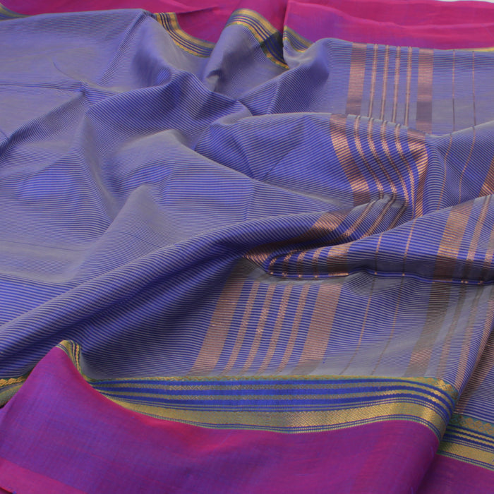 Sarangi Handwoven Silk-Cotton Sari - 1363186BLU