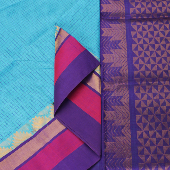 Sarangi Handwoven Silk-Cotton Sari - 1363247BLU