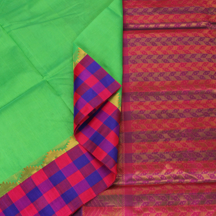 Sarangi Handwoven Silk-Cotton Sari - 1363258GRE