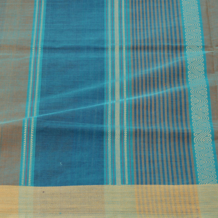 Sarangi Handwoven Cotton Sari - 1383446BLU