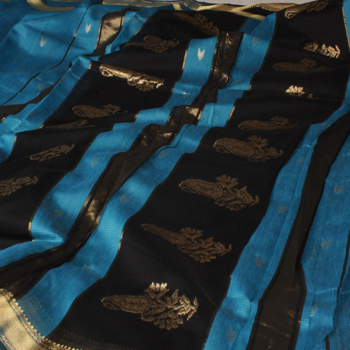 Sarangi Handwoven Silk-Cotton Sari - 1403698BLU