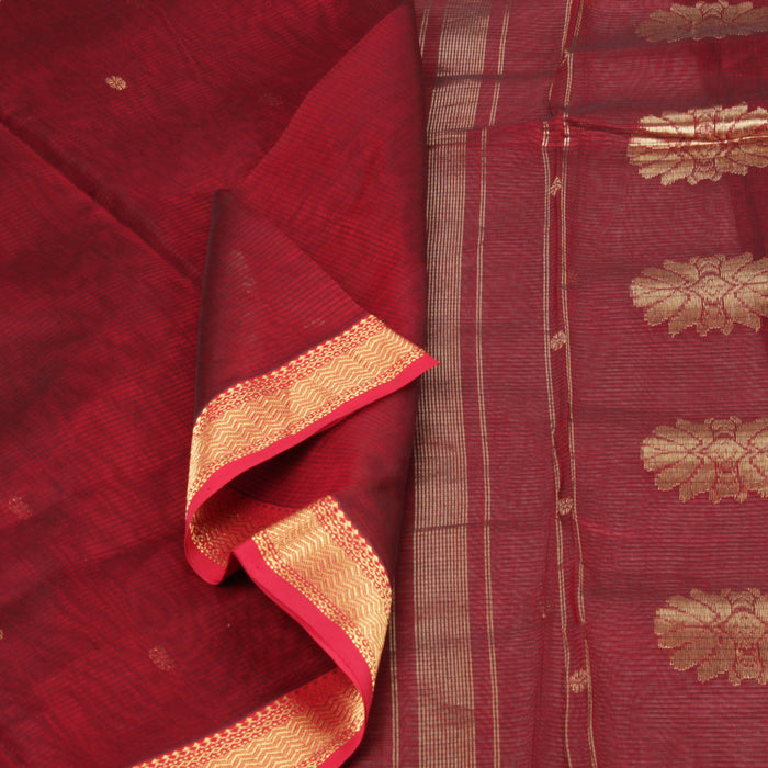 Sarangi Handwoven Maheshwari Silk-Cotton Saree - 1403701MAR