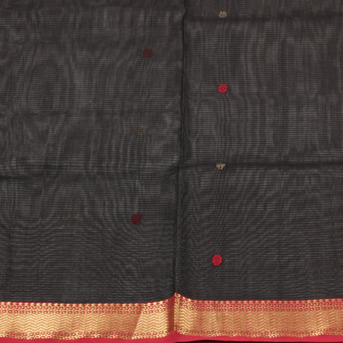 Sarangi Handwoven Maheshwari Silk-Cotton Saree - 1403702BLA