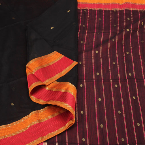 Sarangi Handwoven Silk-Cotton Sari - 1403714BLA
