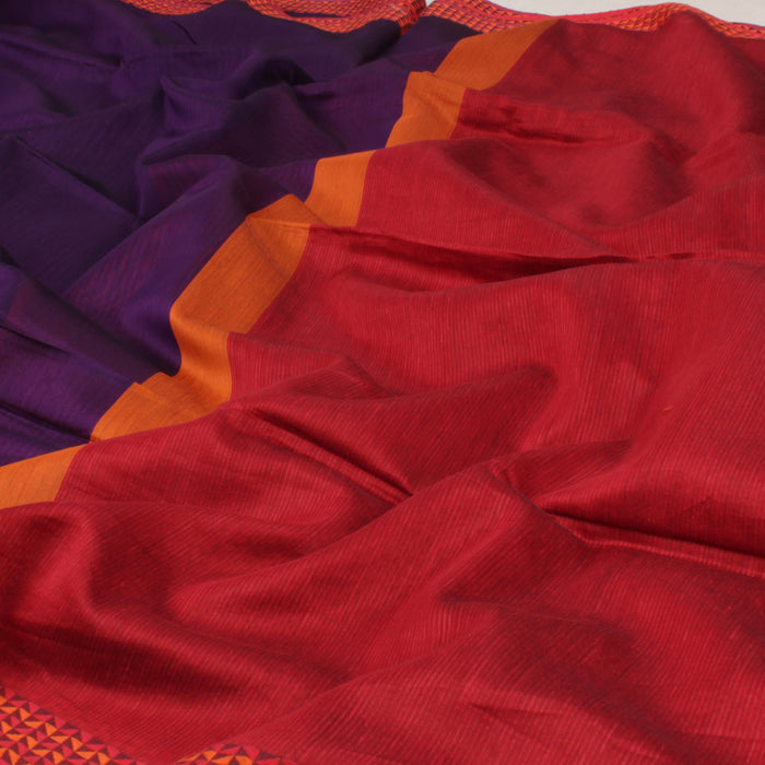 Sarangi Handwoven Maheshwari Silk-Cotton Saree - 1403720VIO