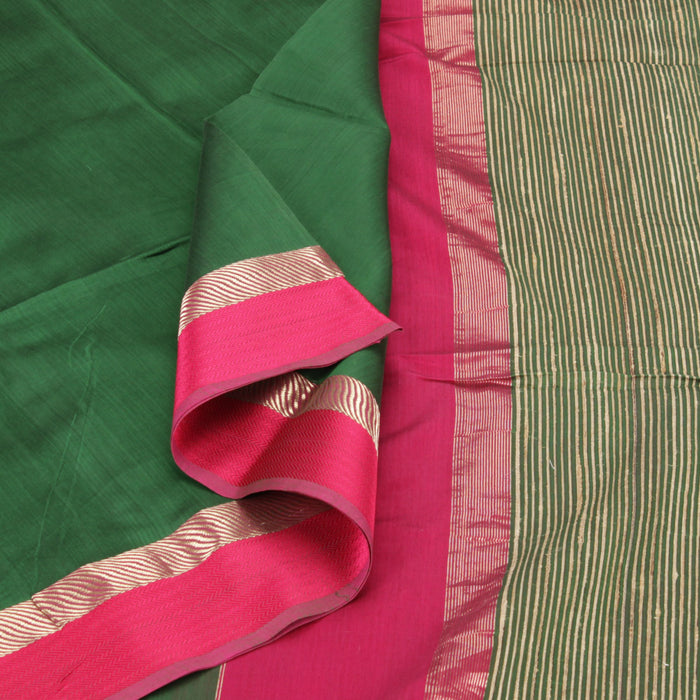 Sarangi Handwoven Silk-Cotton Sari - 1403734GRE