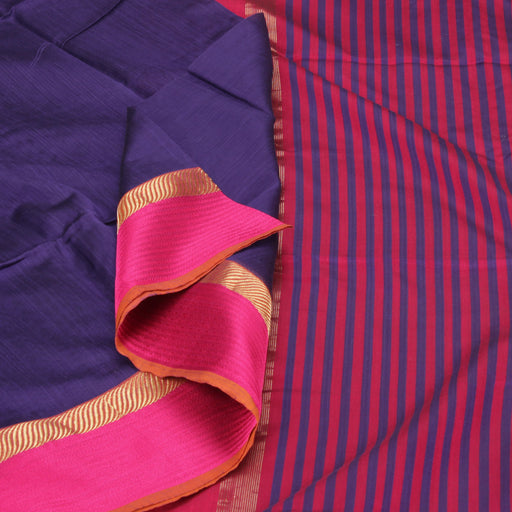 Sarangi Handwoven Silk-Cotton Sari - 1403736BLU