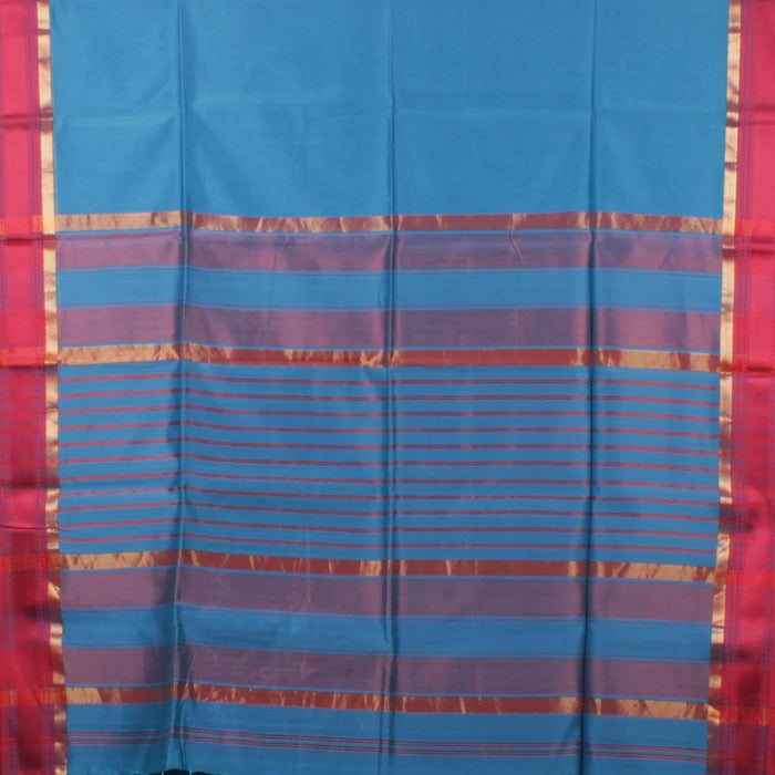 Sarangi Handwoven Maheshwari Silk-Cotton Saree - 1403744BLU