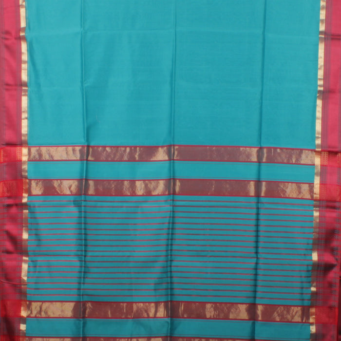 Sarangi Handwoven Maheshwari Silk-Cotton Saree - 1403747BLU