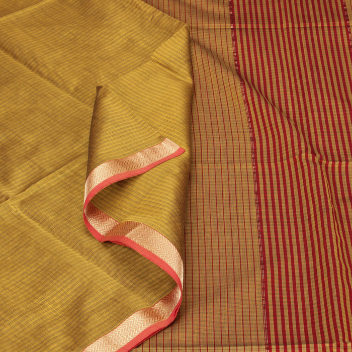 Sarangi Handwoven Silk-Cotton Sari - 1403768GRE