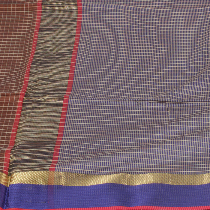 Sarangi Handwoven Maheshwari Silk-Cotton Saree - 1403772BRO