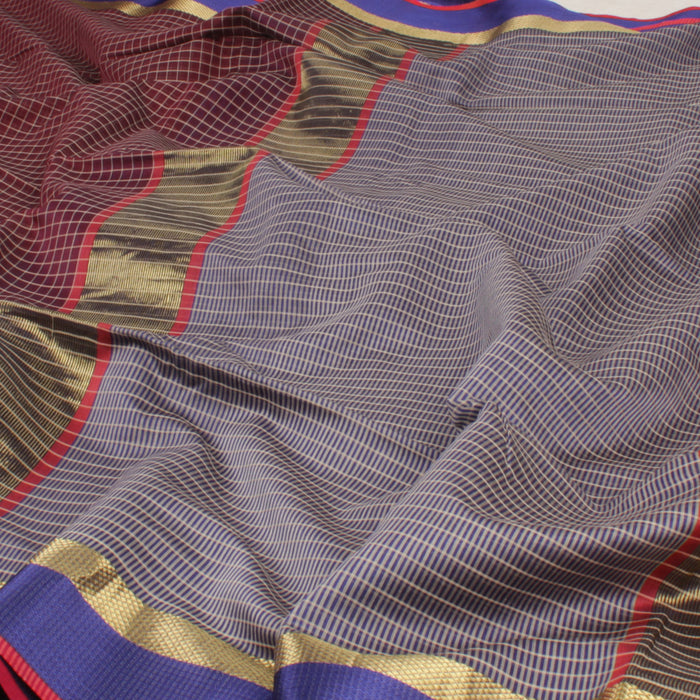 Sarangi Handwoven Maheshwari Silk-Cotton Saree - 1403774BRO