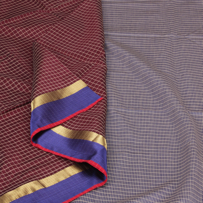 Sarangi Handwoven Silk-Cotton Sari - 1403774BRO