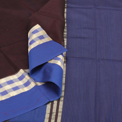 Sarangi Handwoven Silk-Cotton Sari - 1403778BRO