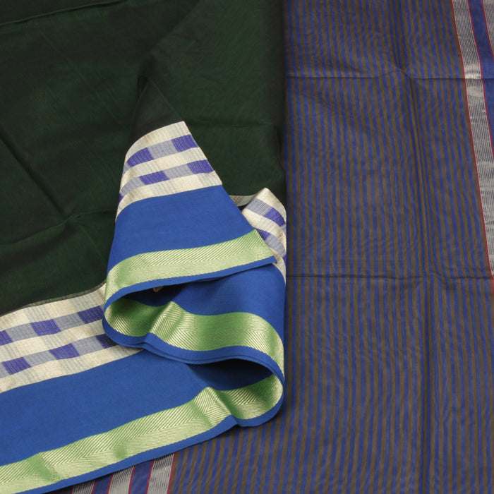 Sarangi Handwoven Silk-Cotton Sari - 1403779GRE