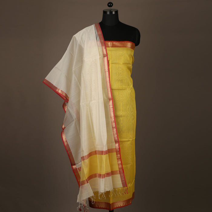 Sarangi Handwoven Maheshwari Silk-Cotton Suit - 1403823YEL