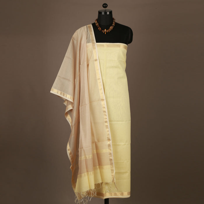 Sarangi Handwoven Maheshwari Silk-Cotton Suit - 1403838SAN