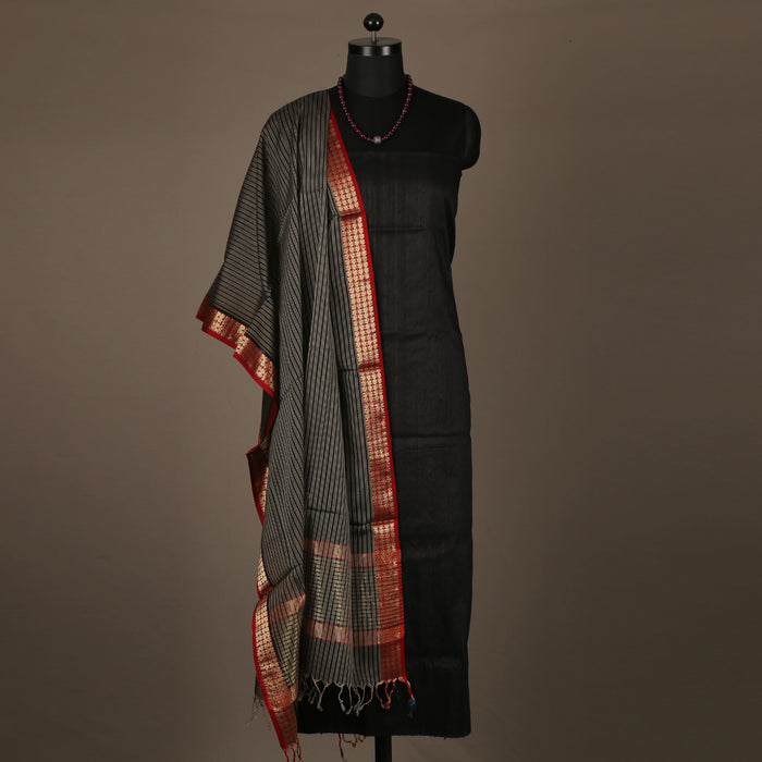 Sarangi Handwoven Maheshwari Silk-Cotton Suit - 14038541BRO