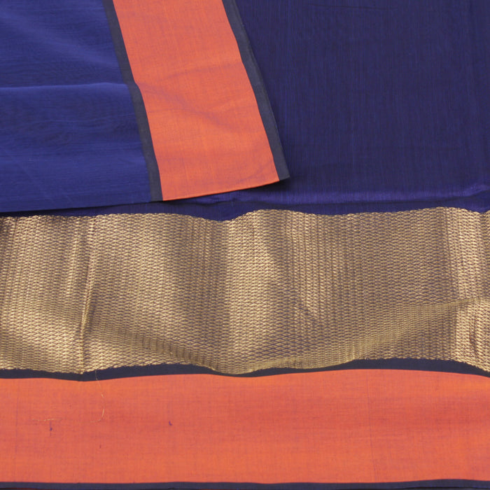 Sarangi Handwoven Silk-Cotton Sari - 1403879BLU