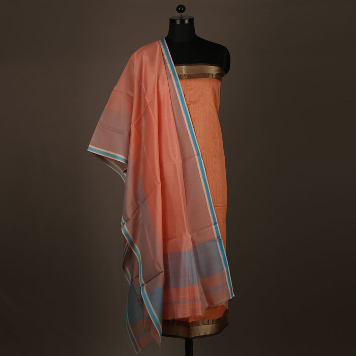 Sarangi Handwoven Maheshwari Silk-Cotton Suit - 1403884PEA