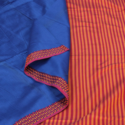Sarangi Handwoven Silk-Cotton Sari - 1403892BLU