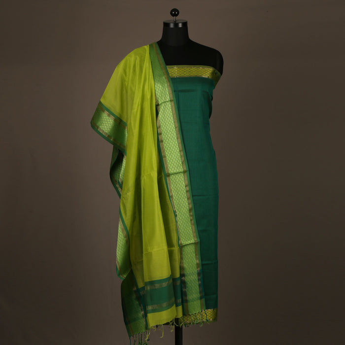 Sarangi Handwoven Maheshwari Silk-Cotton Suit - 1403896GRE