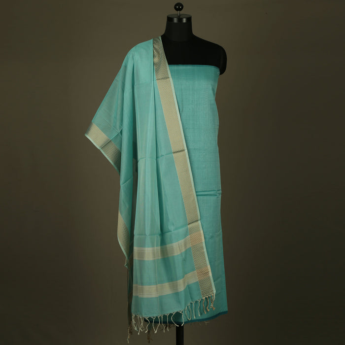 Sarangi Handwoven Maheshwari Silk-Cotton Suit - 1403898GRE