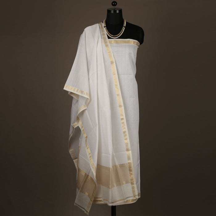 Sarangi Handwoven Maheshwari Silk-Cotton Suit - 1403902OWH