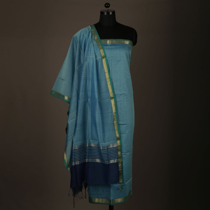 Sarangi Handwoven Maheshwari Silk-Cotton Suit - 1403904BLU