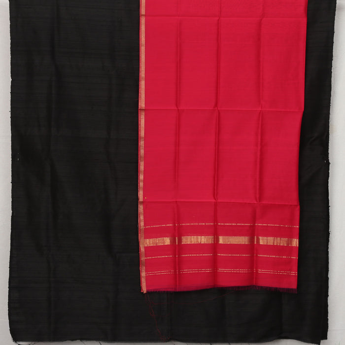 Sarangi Handwoven Maheshwari Silk-Cotton Suit - 1403907RED