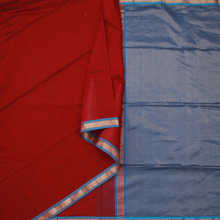 Sarangi Handwoven Maheshwari Silk-Cotton Saree - 1404128MAR
