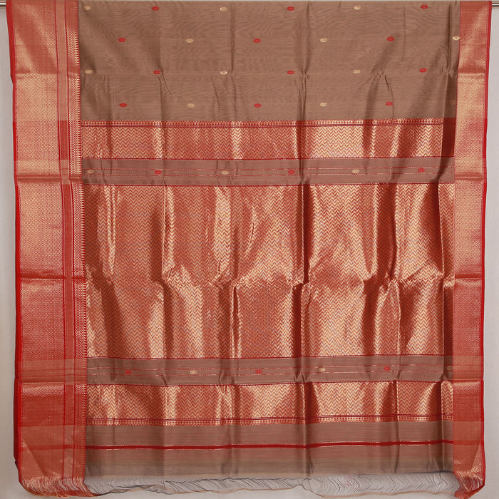 Sarangi Handwoven Maheshwari Silk-Cotton Saree - 1404130BRO