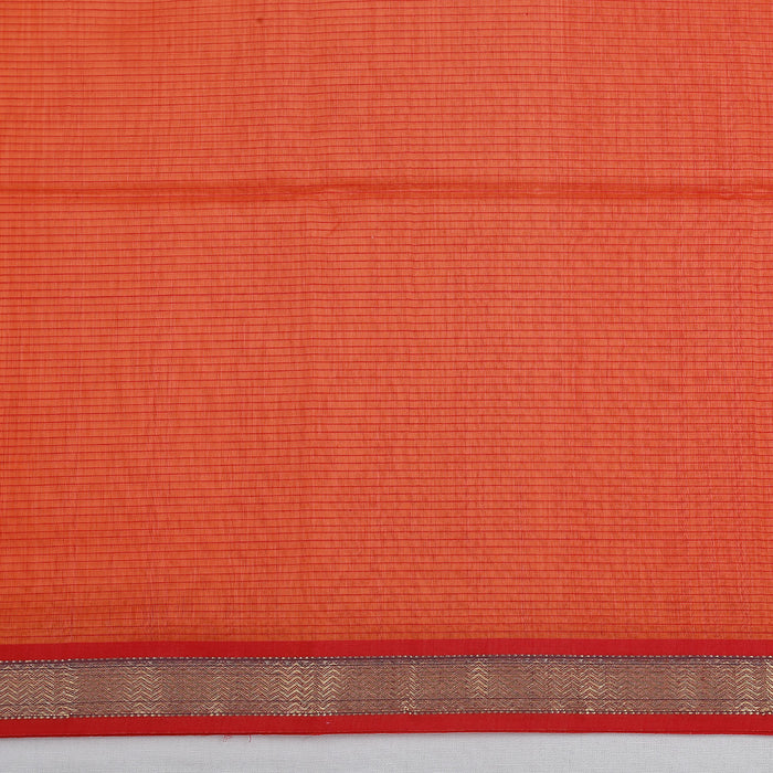 Sarangi Handwoven Maheshwari Silk-Cotton Saree - 1404145RED