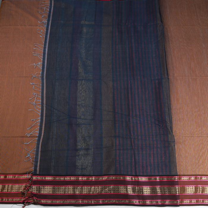 Sarangi Handwoven Maheshwari Silk-Cotton Saree - 1404153BRO