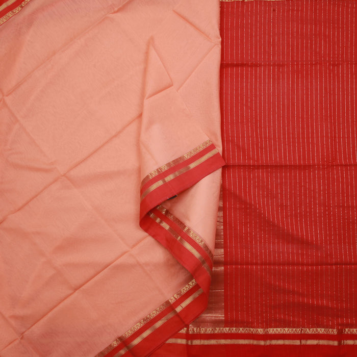 Sarangi Handwoven Maheshwari Silk-Cotton Saree - 1404996PEA