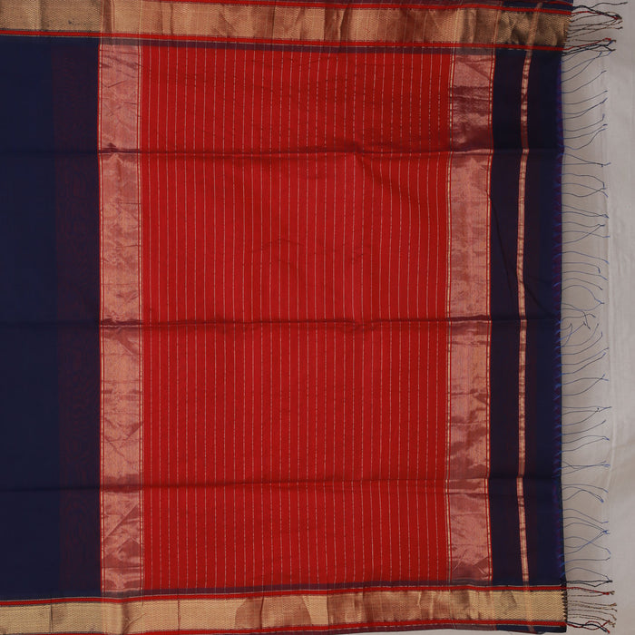 Sarangi Handwoven Maheshwari Silk-Cotton Saree - 1405003BLU