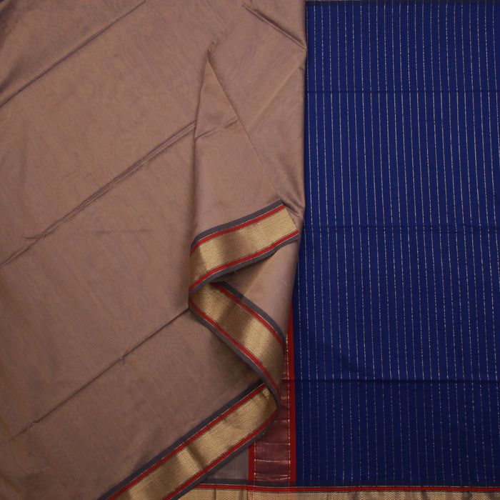 Sarangi Handwoven Maheshwari Silk-Cotton Saree - 1405005GRA