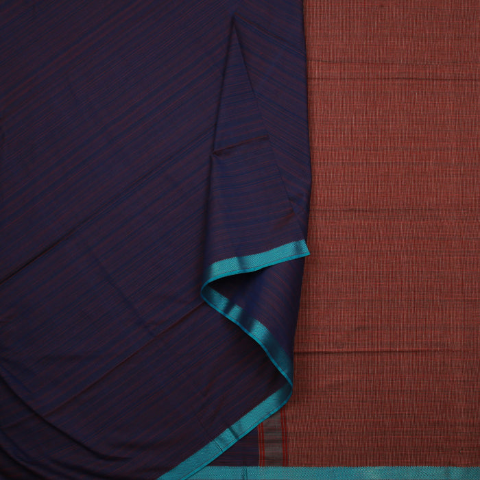 Sarangi Handwoven Maheshwari Silk-Cotton Saree - 1405007BLU