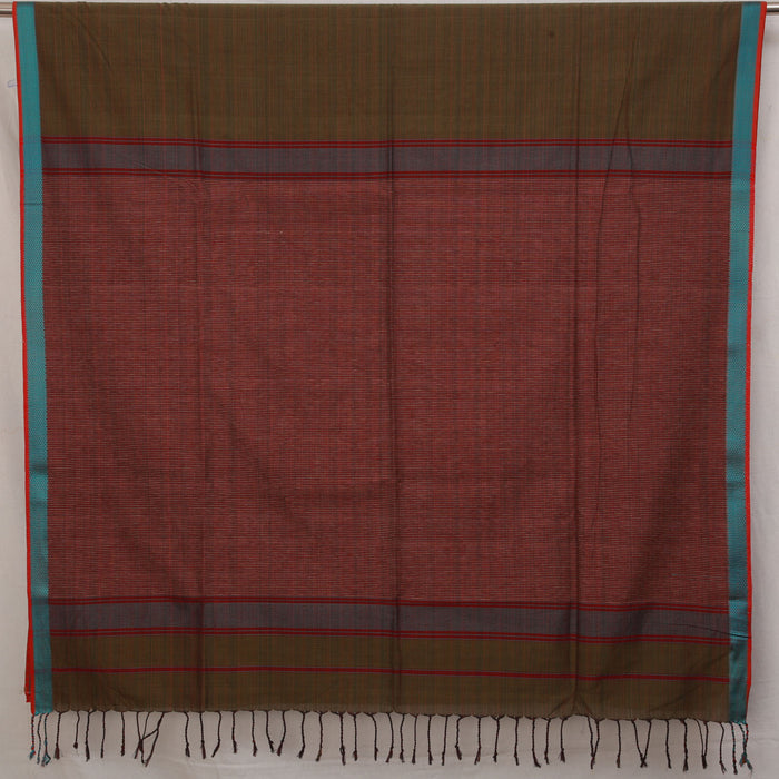 Sarangi Handwoven Maheshwari Silk-Cotton Saree - 1405008GRE