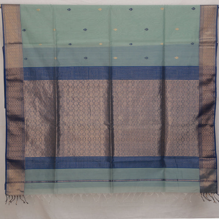 Sarangi Handwoven Maheshwari Silk-Cotton Saree - 1405011BLU