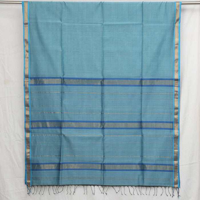 Sarangi Handwoven Maheshwari Silk-Cotton Saree - 1405086BLU