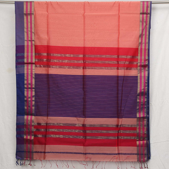 Sarangi Handwoven Maheshwari Silk-Cotton Saree - 1405098PEA