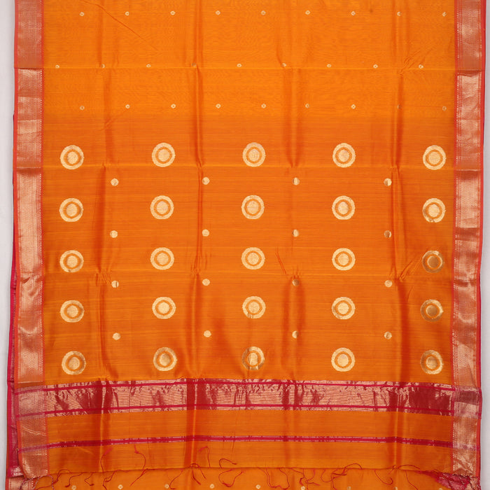 Sarangi Handwoven Maheshwari Silk-Cotton Saree - 1405251MUS