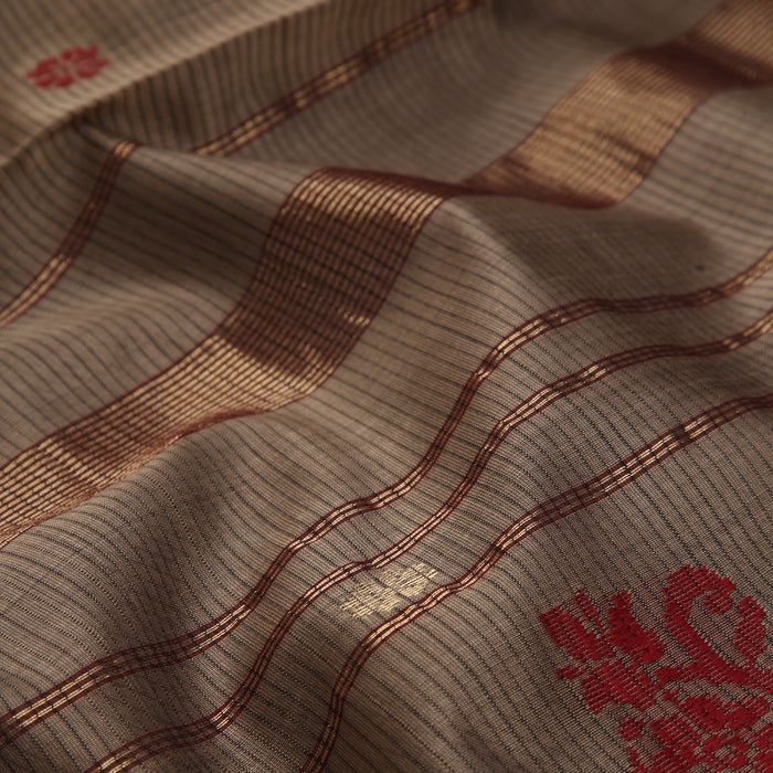 Sarangi Handwoven Maheshwari Silk-Cotton-Tissue Saree - 1405257GRA