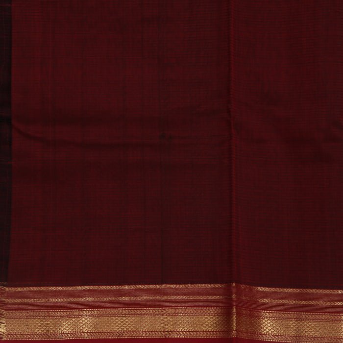 Sarangi Handwoven Maheshwari Silk-Cotton-Tissue Saree - 1405259GRE
