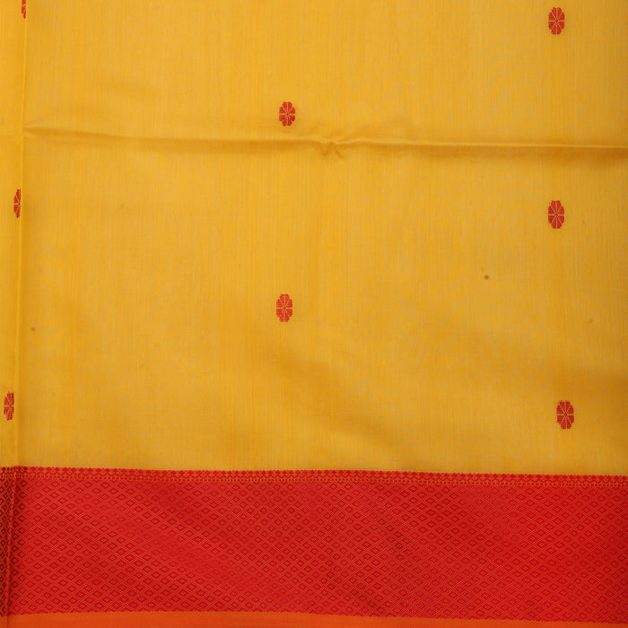 Sarangi Handwoven Maheshwari Silk-Cotton Saree - 1405265YEL