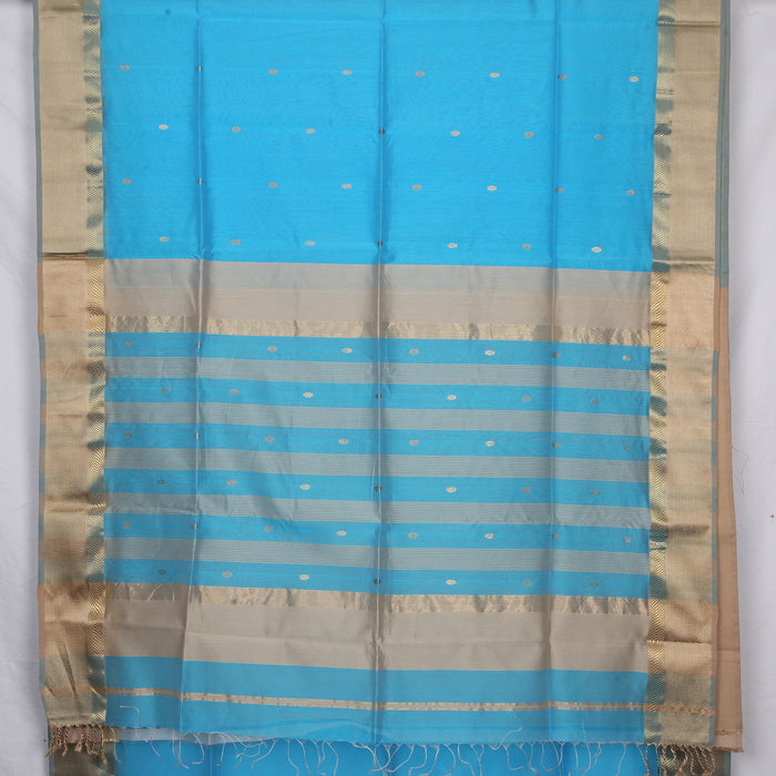 Sarangi Handwoven Maheshwari Silk-Cotton Saree - 1405273BLU