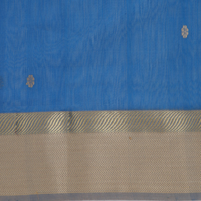 Sarangi Handwoven Maheshwari Silk-Cotton Saree - 1405278BLU