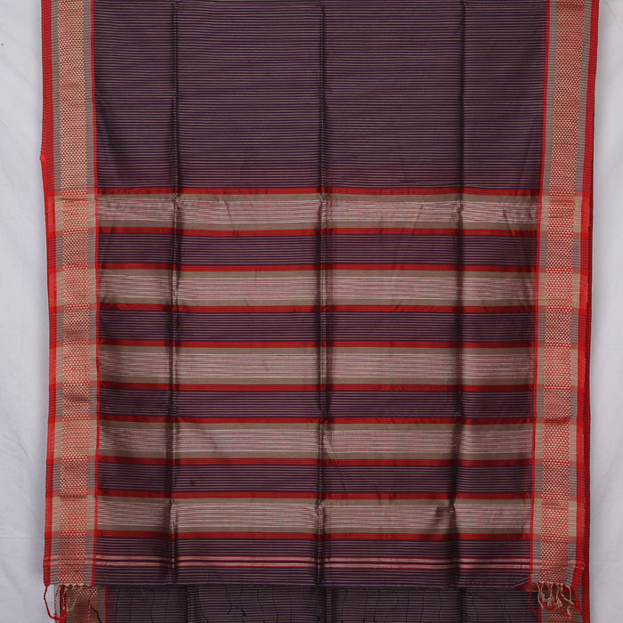 Sarangi Handwoven Maheshwari Silk-Cotton Saree - 1405282PUR
