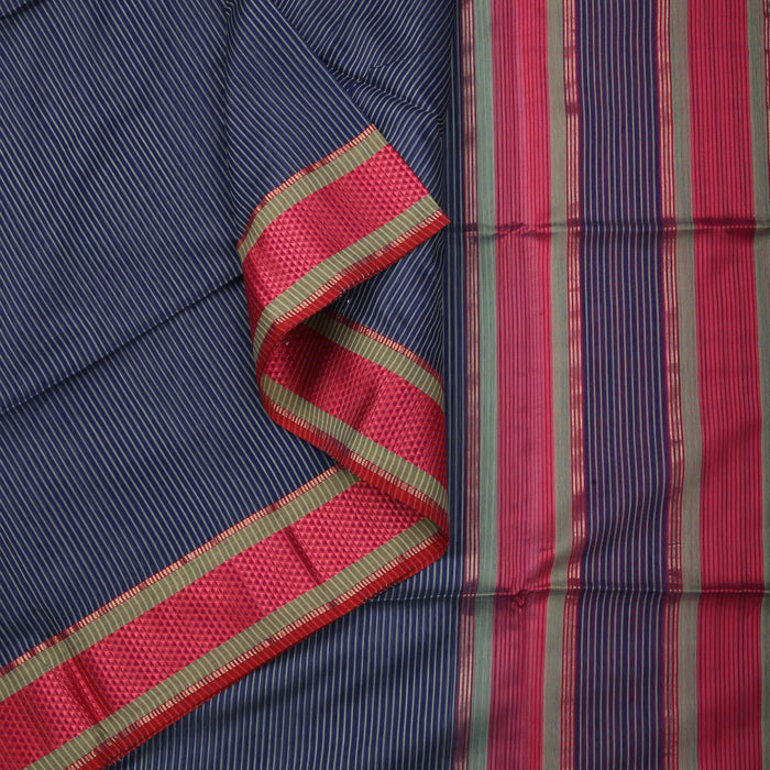 Sarangi Handwoven Maheshwari Silk-Cotton Saree - 1405288BLU